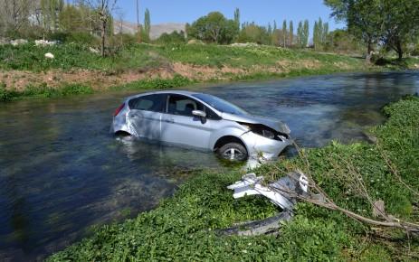 Ağaca Çarpan Otomobil Nehre Uçtu