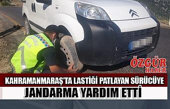 Kahramanmaraş'ta Lastiği Patlayan Sürücüye Jandarma Yardım Etti