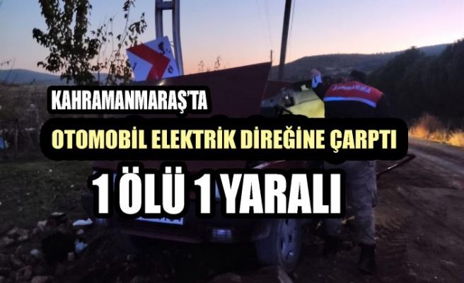 Kontrolden Çıkan Otomobil Elektrik Direğine Çarptı: 1 Ölü 1 Yaralı
