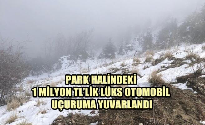 Park Halindeki 1 Milyon TL'lik Lüks Otomobil Uçuruma Yuvarlandı