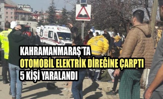 Otomobil Elektrik Direğine Çarptı,  5 Kişi Yaralandı