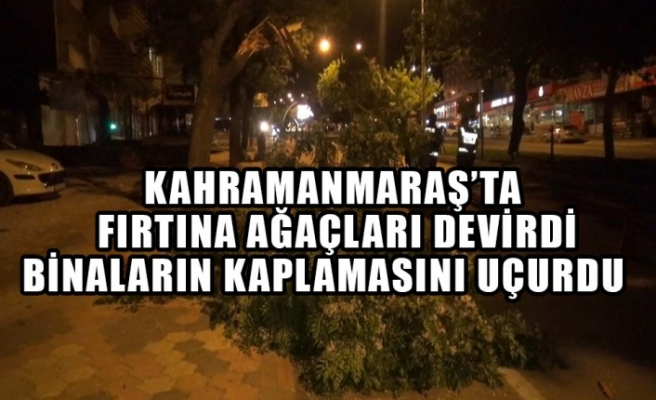 Kahramanmaraş'ta Fırtına Ağaçları Devirdi Binaların Kaplamasını Uçurdu