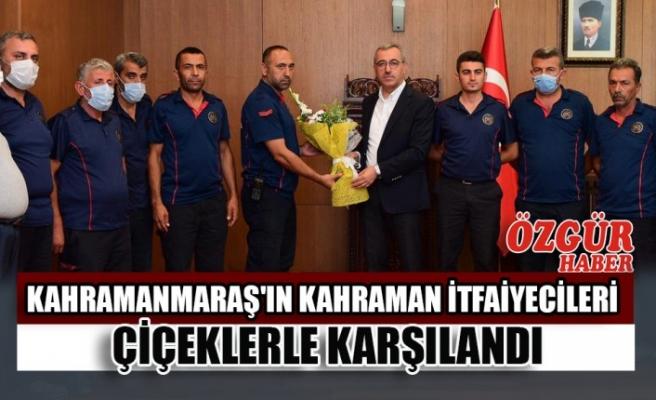 Kahramanmaraş'ın Kahraman İtfaiyecileri Çiçeklerle Karşılandı
