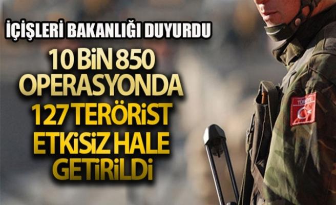 İçişleri Bakanlığı 127 Terörist Etkisiz Hale Getirildi