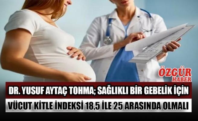 Dr. Yusuf Aytaç Tohma; Sağlıklı Bir Gebelik İçin Vücut Kitle İndeksi 18,5 İle 25 Arasında Olmalı