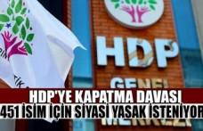 HDP'ye Kapatma Davası:451 İsim İçin Siyasi Yasak İsteniyor