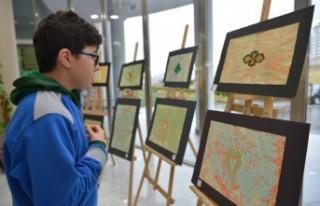 Kahramanmaraşlı Öğrencilerden 'Ebru' Sergisi