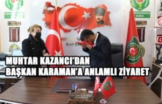 Muhtar Kazancı'dan Başkan Karaman'a Anlamlı...