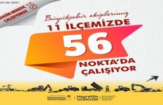 Kahramanmaraş'ta 11 İlçe 56 Noktada Çalışma