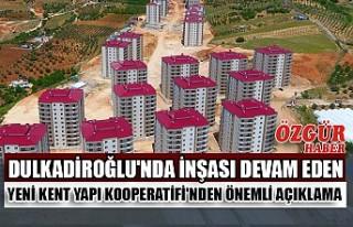 Yeni Kent Yapı Kooperatifi'nden Önemli Açıklama