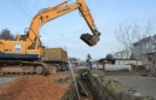 Karacasu Kırım'da Yağmur Suyu Hattı İnşaatı...