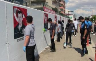 Şehit Polislerin Resimleri Bölge Trafik Denetleme Amirliğinin Duvarına Çizildi