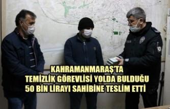Temizlik Görevlisi Yolda Bulduğu 50 Bin Lirayı Sahibine Teslim Etti