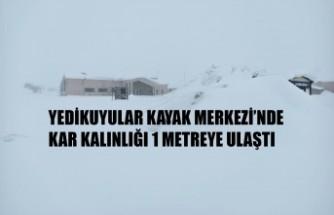Yedikuyular Kayak Merkezi'nde Kar Kalınlığı 1 Metreye Ulaştı