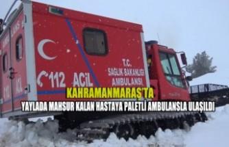 Kahramanmaraş'ta Yaylada Mahsur Kalan Hastaya Paletli Ambulansla Ulaşıldı