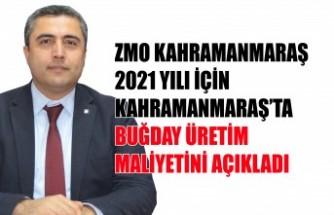 ZMO, 2021 Yılı Kahramanmaraş'ta Buğday Üretim Maliyetini Açıkladı
