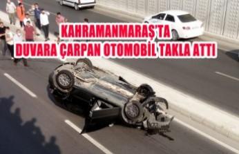 Duvara Çarpan Otomobil Takla Attı