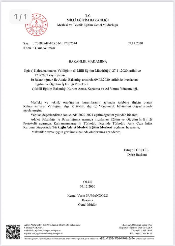 turkoglu adalet mesleki egitim merkezi aciliyor ozgur haber